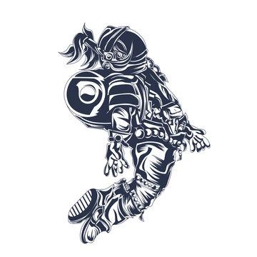 astronut space inking illustration artwork