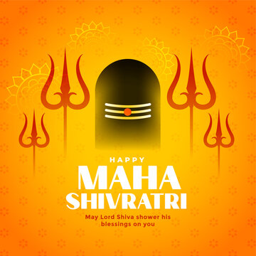 maha shivratri traditional hindu festival wishes card