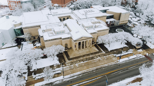 Aerial Drone Photos of a Snowy Baltimore City Street