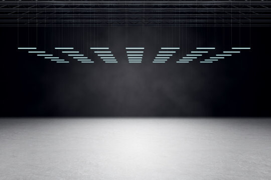 Modern empty hall room with concrete floor, black wall and led lights in a row on black top. Mockup