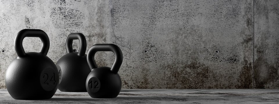 Fitness gym kettlebells in concrete room background, muscle exercise, bodybuilding or fitness concept