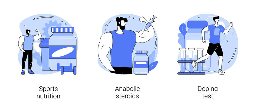 Sport drugs abstract concept vector illustration set. Sports nutrition, anabolic steroids, doping test, protein cocktail, muscle mass, athletic performance, laboratory analysis abstract metaphor.