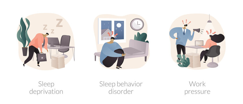 Stress management abstract concept vector illustration set. Sleep deprivation and behavior disorder, work pressure, insomnia, clinical diagnostic, mental health, chronic anxiety abstract metaphor.