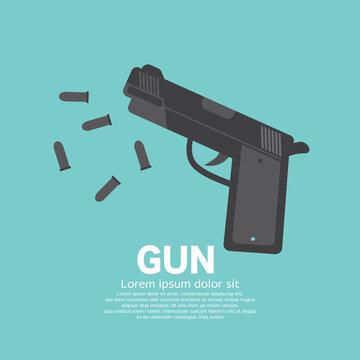 Flat Design Top View Handgun and Bullet Vector Illustration.