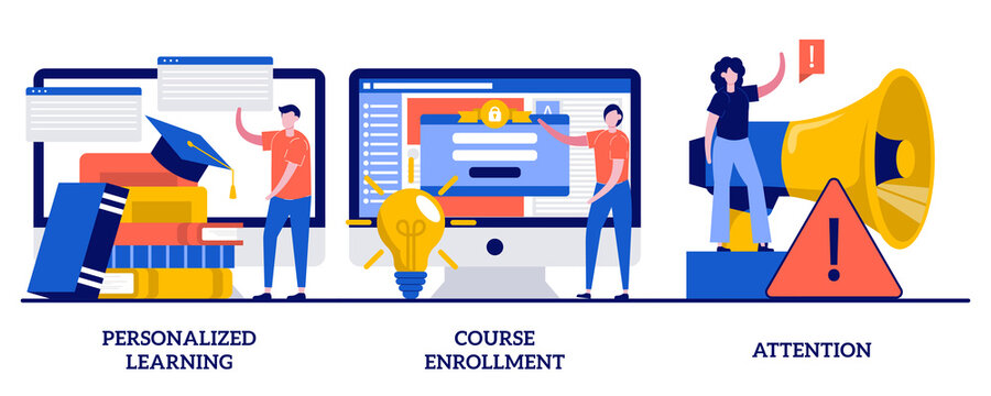 Personalized learning, course enrollment, attention concept with tiny people. Flexible study plan abstract vector illustration set. Apply for degree program, new student, concentration metaphor