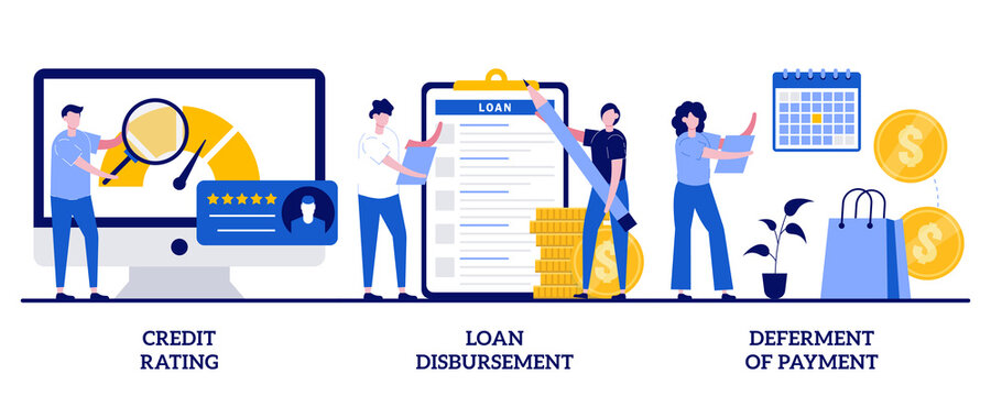 Credit rating, loan disbursement, deferment of payment concept with tiny people. Bank service vector illustration set. Risk evaluation, student loan, payment terms, financial hardship metaphor