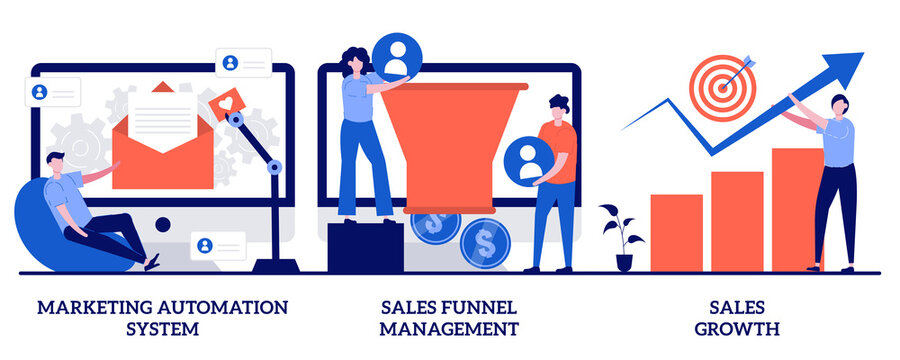 Marketing automation system, sales funnel management, sales growth concept with tiny people. Marketing software abstract vector illustration set. CRM system, lead conversion, client database metaphor