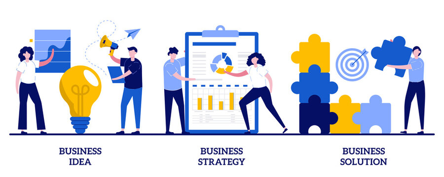 Business idea, strategy and solution concept with tiny people. Business plan abstract vector illustration set. Company achievement, problem solving, decision making, effective performance metaphor