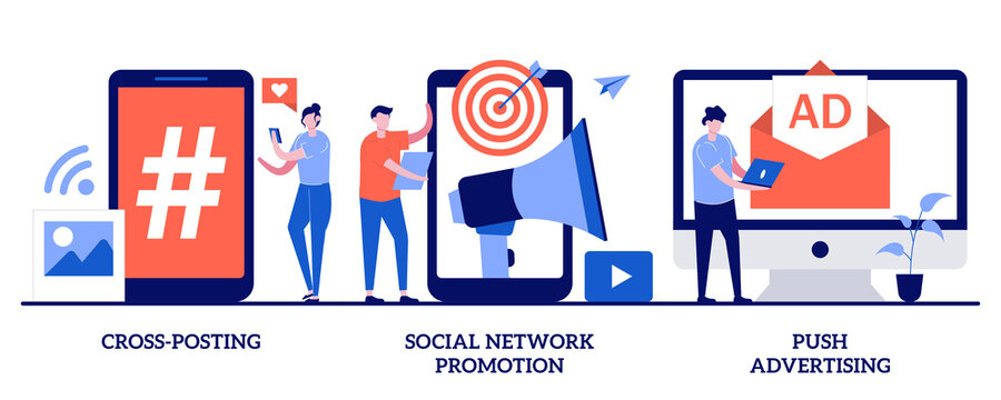 Cross-posting, social network promotion, push advertising concept with tiny people. Media promotion vector illustration set. Comment and like, digital marketing, smm and post sharing metaphor