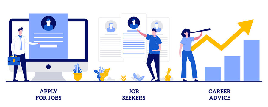 Apply for job, job seekers, career advice concept with tiny people. HR service abstract vector illustration set. Hiring, start career, search for work, employee profile, corporate website metaphor