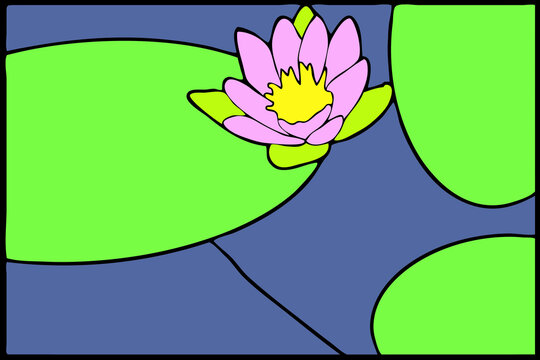 Coloring page with stylized lotus or nenuphars floral pattern. Clipart for poster, t shirt print, apparel. For greeting card, label, patch or sticker. Illustration. Mosaic, inlay or stained glass