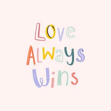 Vector love wins doodle typography font