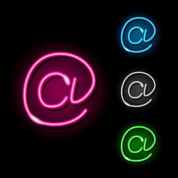 Set of neon e-mail at symbol icons in four different colours isolated on black background. Email, message, letter, adress concept. Night signboard style. Vector 10 EPS illustration.