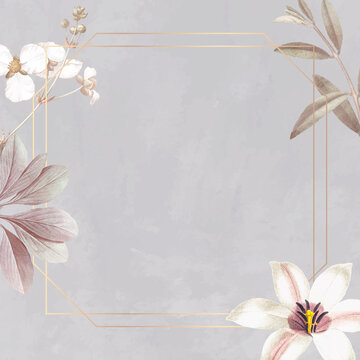 Frame with lily and bulltongue arrowhead background vector