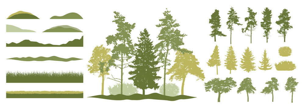 Constructor kit. Silhouettes of beautiful spruce trees, pine, other trees, grass, hill. Creation of spring beautiful park, forest, landscape, woodland, collection of element. Vector illustration.