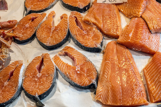 Fresh salmon for sale at a market in Venice, Italy