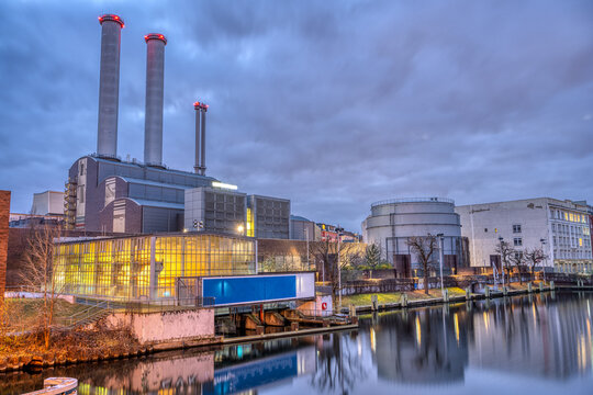 Cogeneration plant at the river Spree in Berlin at twilight