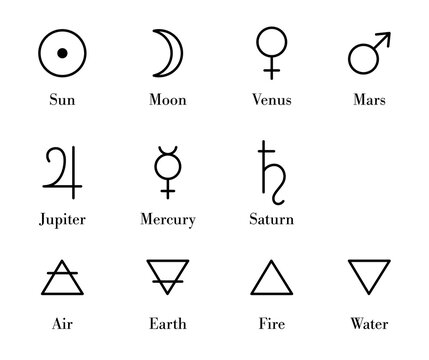 Simple alchemy symbols set. Isolated alchemy icons and glyphs of planets also known as Seven Planetary Metals and four elements. Mystic symbols of ancient astrology and astronomy, geometric flat style