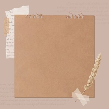 Ripped newspaper and flower stem on old brown paper banner vector