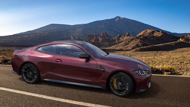 BMW M4 Competition on a scenic road