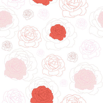Floral seamless pattern with flat roses.