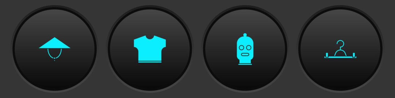 Set Asian conical hat, T-shirt, Balaclava and Hanger wardrobe icon. Vector.