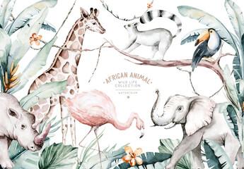 Watercolor illustration of African Animals: lemur, flamingo and giraffe, toucan and rhipo, rhino and elephant isolated white background. Safari savannah animals