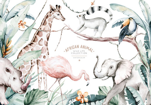 Watercolor illustration of African Animals: lemur, flamingo and giraffe, toucan and rhipo, rhino and elephant isolated white background. Safari savannah animals