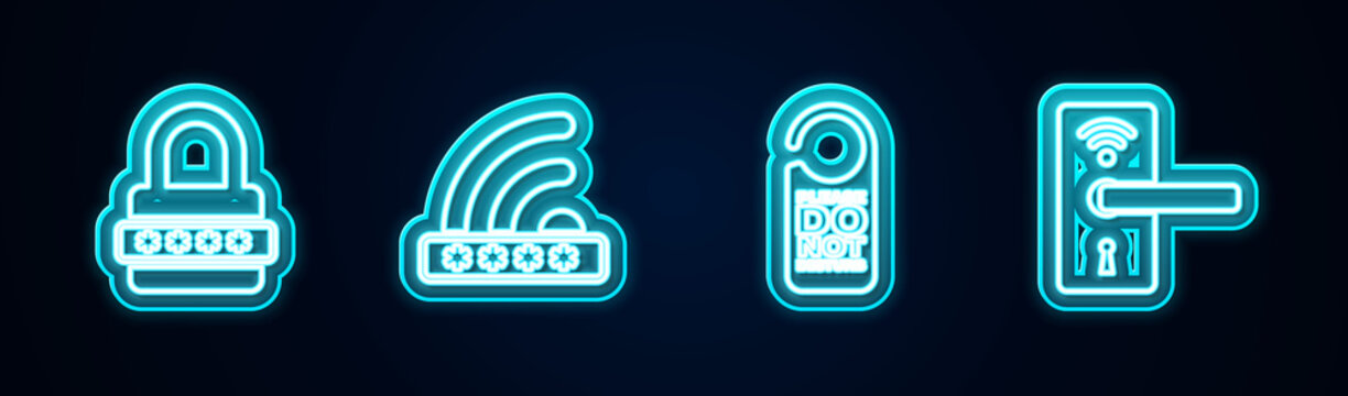 Set line Password protection, Wifi locked, Please do not disturb and Digital door with wireless. Glowing neon icon. Vector.