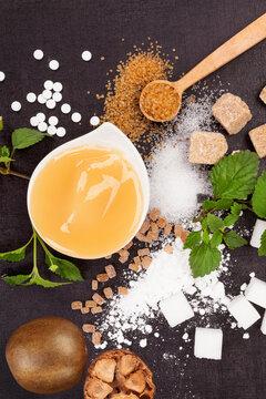 Various types of sugar and sweetener.