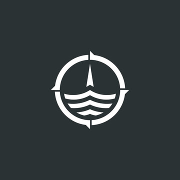 Simple compass ship logo concept with modern style