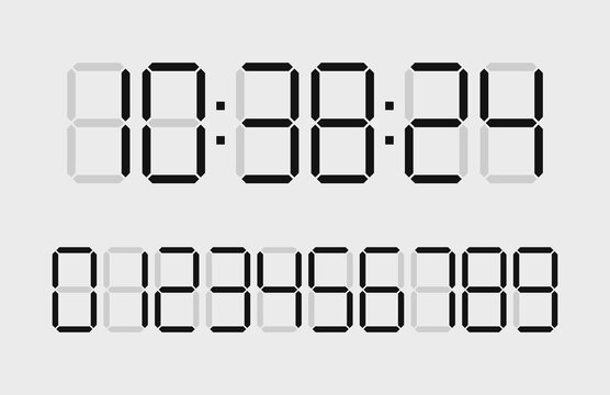 Digital time clock. Numbers for timer, calculator and watch display. Font of digit for counter. Black numbers isolated on white board. Type of digits for countdown. Web graphic for clock. Vector