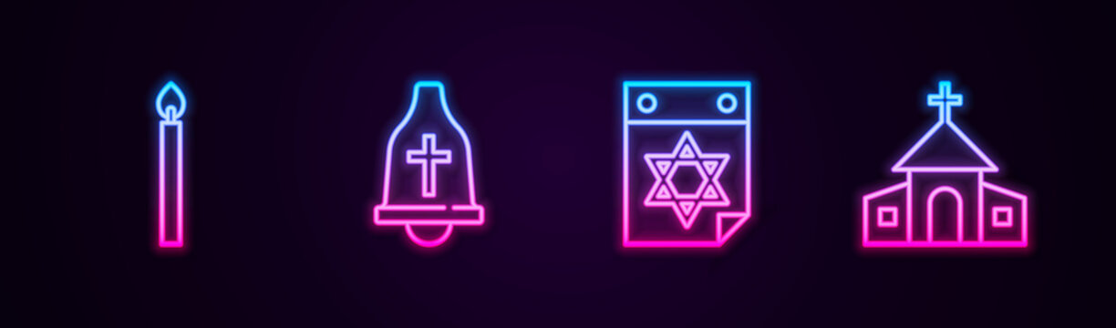 Set line Burning candle, Church bell, Jewish calendar and building. Glowing neon icon. Vector.