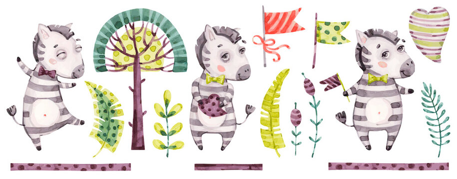 Baby cute zebra boy. Vector Watercolor nursery cartoon jungle animals horse, tropical trees, leaves. Adorable Nurseries safari set isolated on white background. Hand painted watercolour baby clip art