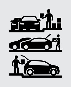 Car With Open Trunk Curbside Pickup Vector Icon