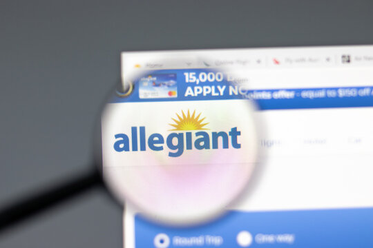 New York, USA - 15 February 2021: Allegiant website in browser with company logo, Illustrative Editorial.