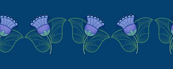 Fototapeta Seamless Border, pattern, Decorative purple bluebells on a blue background obraz