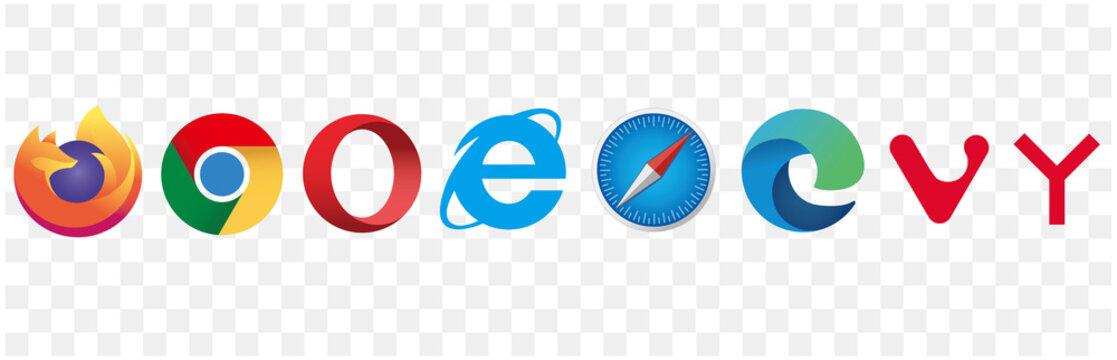 browsers icons set. Google Chrome, Safari, Firefox, Internet browsers, Microsoft Edge, Opera, Yandex, and Vivaldi.