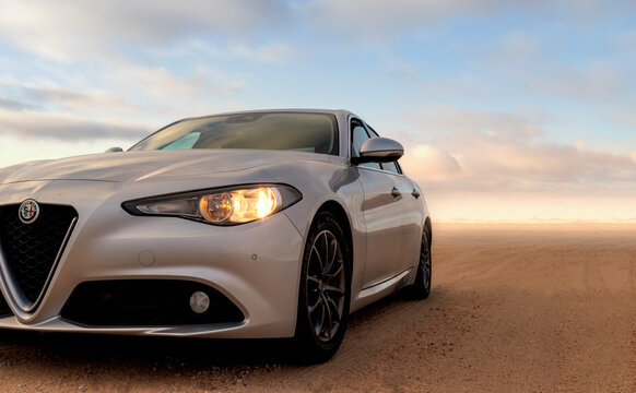 Alfa Romeo Giulia standing in the middle of the desert 16.02.2021. Walvis Bay, Namibia