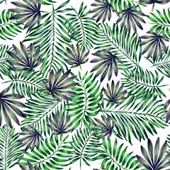 Seamless tropical leaf pattern. Watercolour botanical illustration. Beautiful elegant palm leaf pattern. For decoration  of fabric, paper and other design.