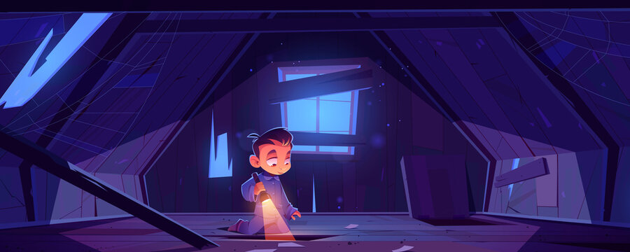 Kid in abandoned house attic at night, little boy in pajama with flashlight explore old mansard room with holes and spider web on roof with wood floor and boarded up window Cartoon vector illustration
