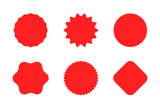 Starburst sticker set for promo sale. Vector badge shape design - star and roundburst tag, price offer promotion. Collection of empty red circle stickers for promotion isolated on white background