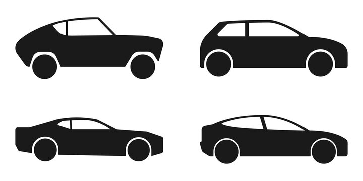 Car. Cars icons, isolated. Black Car vector icons. Automobile. Vector illustration