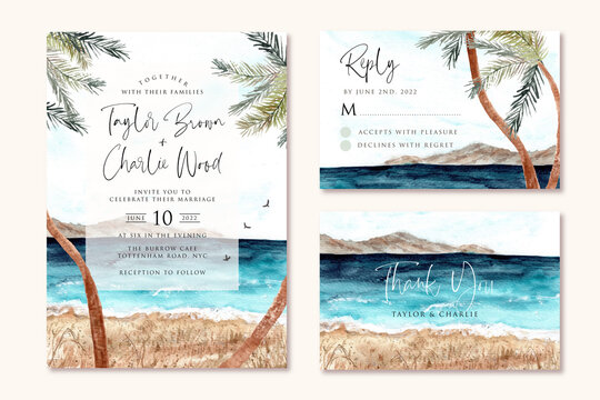 wedding invitation set with beach and palm tree watercolor background