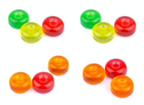 Colorful fruit hard sugar candies, boiled sweeties or sugar plum