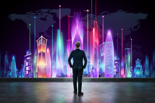 A man in a business suit, a businessman stands against the backdrop of a futuristic city. Smart city concept, dreams, development, life improvement.