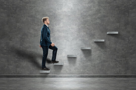A man climbs up the career ladder. The concept of support and financial assistance, loan.