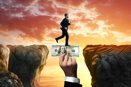 The businessman runs across the chasm along the big hand of the investor. An investor helps a business, a startup. The concept of support and financial assistance, loan.