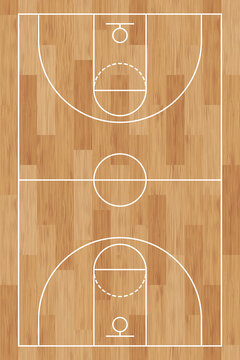 Basketball court. Wooden floor. background painted with line and basket. Basketball field. Sport play. Overhead view. Texture with wood pattern. Playground top plan. Vertical wooden board. Vector