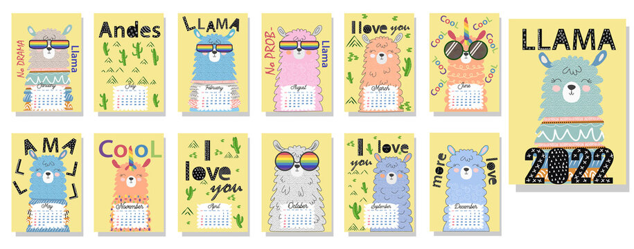 Cute monthly calendar of 2022 with a llama, cactus, inscriptions in the Scandinavian children's style.